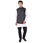 Craftsvilla Black Color Cotton Chinese Collar Neck Sleeveless Nehru Style Jacket
