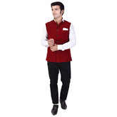 Craftsvilla Maroon Color Velvet Chinese Collar Neck Sleeveless Nehru Style Jacket