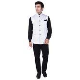 Craftsvilla White Color Cotton Chinese Collar Neck Sleeveless Nehru Style Jacket