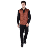 Craftsvilla Brown Color Jute Chinese Collar Neck Sleeveless Nehru Style Jacket