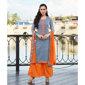 Craftsvilla Blue Color Cotton Embroidered Unstitched Salwar Suit