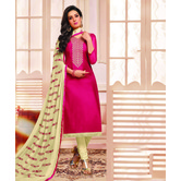 Craftsvilla Pink Color Art Silk Embroidered Unstitched Straight Suit