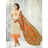 Craftsvilla Beige Color Cotton Printed Unstitched Salwar Suit
