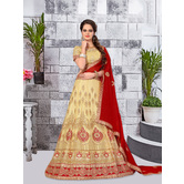 Craftsvilla Beige Color Net Embroidered Semi Stitch Lehenga