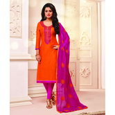 Craftsvilla Orange Color Art Silk Embroidered Unstitched Straight Suit
