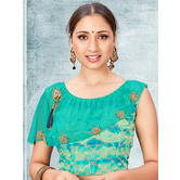 Craftsvilla Turquoise Color Jacquard Semi Stitched Free Size Blouse