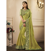Craftsvilla Green Color Silk Resham Embroidered Designer Saree With Unstitched Blouse Material