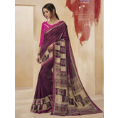 Craftsvilla Purple Color Cotton Blend Floral Printed Designer Saree With Unstitched Blouse Material