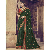 Craftsvilla Green Color Silk Designer Resham Embroidery Saree