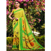 Craftsvilla Yellow Color Cotton Silk Contemporary Floral Print  Saree