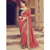 Craftsvilla Brown Color Silk Designer Resham Embroidery Saree