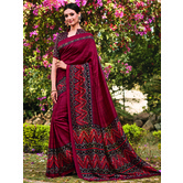 Craftsvilla Maroon Color Cotton Silk Contemporary Floral Print  Saree