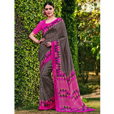 Craftsvilla Brown Color Cotton Silk Contemporary Floral Print  Saree