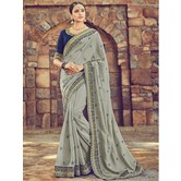 Craftsvilla Grey Color Silk Designer Resham Embroidery Saree