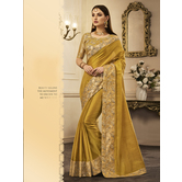 Craftsvilla Gold Color Silk Resham Embroidered Designer Saree With Unstitched Blouse Material