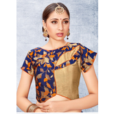 Craftsvilla Blue Color Jacquard Semi Stitched Free Size Blouse
