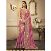 Craftsvilla Pink Color Silk Resham Embroidered Designer Saree With Unstitched Blouse Material