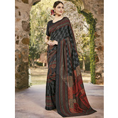 Craftsvilla Black Color Cotton Silk Contemporary Floral Print  Saree