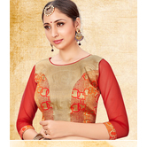 Craftsvilla Beige Color Jacquard Semi Stitched Free Size Blouse