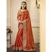 Craftsvilla Orange Color Silk Resham Embroidered Designer Saree With Unstitched Blouse Material