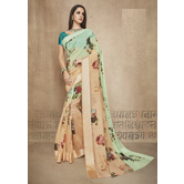 Craftsvilla Green Linen Printed Designer Saree With Unstitched Blouse Material