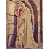 Craftsvilla Beige Color Silk Designer Resham Embroidery Saree