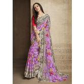 Craftsvilla Purple Linen Printed Designer Saree With Unstitched Blouse Material