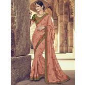 Craftsvilla Orange Color Silk Designer Resham Embroidery Saree