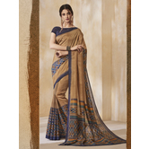 Craftsvilla Brown Color Cotton Blend Floral Printed Designer Saree With Unstitched Blouse Material