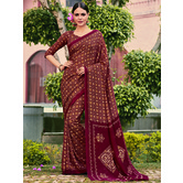 Craftsvilla Red Color Cotton Silk Contemporary Floral Print  Saree