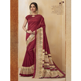 Craftsvilla Red Color Cotton Blend Floral Printed Designer Saree With Unstitched Blouse Material