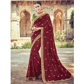 Craftsvilla Maroon Color Silk Designer Resham Embroidery Saree