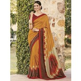 Craftsvilla Gold Color Cotton Silk Contemporary Floral Print  Saree