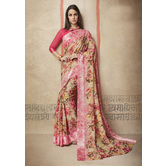 Craftsvilla Pink Linen Printed Designer Saree With Unstitched Blouse Material