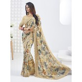 Craftsvilla Beige Color Georgette Lace Work Designer Saree With Unstitched Blouse Material