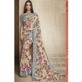 Craftsvilla Beige Linen Printed Designer Saree With Unstitched Blouse Material