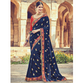 Craftsvilla Blue Color Silk Designer Resham Embroidery Saree