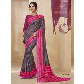 Craftsvilla Grey Color Cotton Blend Floral Printed Designer Saree With Unstitched Blouse Material