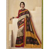 Craftsvilla Multicolor Color Cotton Blend Floral Printed Designer Saree With Unstitched Blouse Material