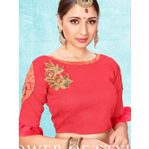 Craftsvilla Red Color Jacquard Semi Stitched Free Size Blouse