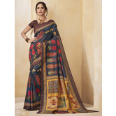 Craftsvilla Blue Color Cotton Blend Floral Printed Designer Saree With Unstitched Blouse Material