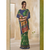 Craftsvilla Green Color Cotton Blend Floral Printed Designer Saree With Unstitched Blouse Material