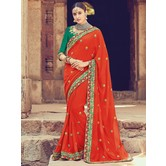 Craftsvilla Red Color Silk Designer Resham Embroidery Saree