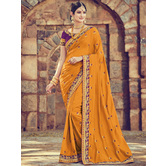 Craftsvilla Yellow Color Silk Designer Resham Embroidery Saree