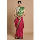 Craftsvilla Pink Color Silk Blend Woven Traditional Saree With Blouse.