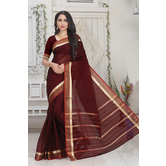 Craftsvilla Maroon Color Kota Cotton Zari Work Designer Saree With Blouse Piece