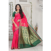 Craftsvilla Pink Color Silk Blend Zari Work Designer Saree With Blouse Piece