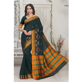 Craftsvilla Green Color Silk Blend Thread Work Designer Saree With Blouse Piece
