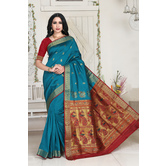 Craftsvilla Green Color Silk Blend Zari Work Designer Saree With Blouse Piece