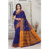 Craftsvilla Blue Color Silk Blend Thread Work Designer Saree With Blouse Piece
